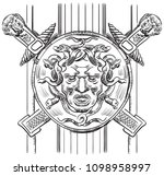 ancient carving street  lattice ... | Shutterstock .eps vector #1098958997