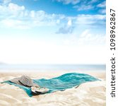 empty towel on beach and... | Shutterstock . vector #1098962867