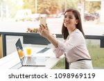 young business woman making... | Shutterstock . vector #1098969119