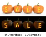 sale text carved on pumpkin... | Shutterstock . vector #109898669