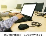 working on laptop close up of... | Shutterstock . vector #1098994691