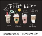 coffees and bubble tea... | Shutterstock .eps vector #1098995324
