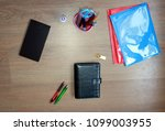 business accessories on the... | Shutterstock . vector #1099003955