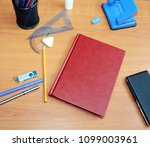 business accessories on the... | Shutterstock . vector #1099003961