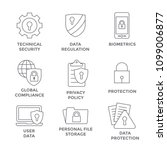 gdpr   privacy policy icon set... | Shutterstock .eps vector #1099006877