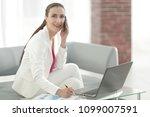 businesswoman discussing... | Shutterstock . vector #1099007591