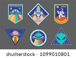 colorful set icons with patches ... | Shutterstock .eps vector #1099010801