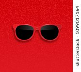 red hipster sunglasses with... | Shutterstock .eps vector #1099017164