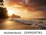 beautiful tropical pacific... | Shutterstock . vector #1099039781