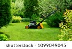lawn mower on the lawn on a... | Shutterstock . vector #1099049045