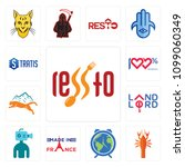 set of 13 simple editable icons ... | Shutterstock .eps vector #1099060349