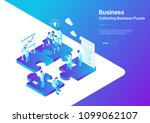 isometric flat vector teamwork... | Shutterstock .eps vector #1099062107