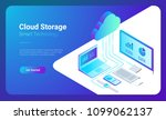 isometric flat cloud hosting... | Shutterstock .eps vector #1099062137