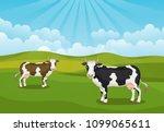 vector cartoon landscape with... | Shutterstock .eps vector #1099065611