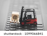 forklift with email symbol on... | Shutterstock . vector #1099066841