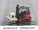 forklift with lock graphic on... | Shutterstock . vector #1099067495