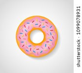sweet donut with pink glaze... | Shutterstock .eps vector #1099078931