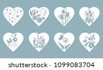 set stencil hearts with tulip ... | Shutterstock .eps vector #1099083704