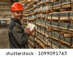 cheerful warehouse manager... | Shutterstock . vector #1099091765