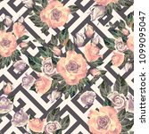 Rose Seamless Vector Floral...