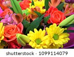 a floral bouquet with pink... | Shutterstock . vector #1099114079