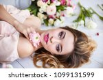 beautiful young woman with make ... | Shutterstock . vector #1099131599