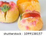delicious choux cream with... | Shutterstock . vector #1099138157