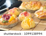 close up choux cream with bakery | Shutterstock . vector #1099138994