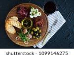 italian antipasti wine snacks... | Shutterstock . vector #1099146275