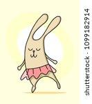 cartoon bunny dancing in cute... | Shutterstock .eps vector #1099182914