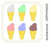 set of six types of ice cream... | Shutterstock .eps vector #1099192655