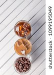 black iced coffee  cold latte ... | Shutterstock . vector #1099195049