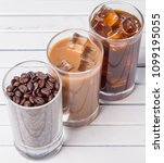 black iced coffee  cold latte ... | Shutterstock . vector #1099195055