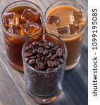 black iced coffee  cold latte ... | Shutterstock . vector #1099195085