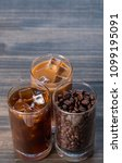 black iced coffee  cold latte ... | Shutterstock . vector #1099195091