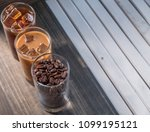 black iced coffee  cold latte ... | Shutterstock . vector #1099195121