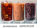 black iced coffee  cold latte ... | Shutterstock . vector #1099195139