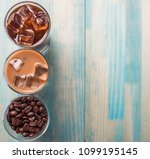 black iced coffee  cold latte ... | Shutterstock . vector #1099195145