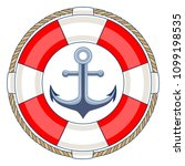 lifebuoy and anchor. | Shutterstock .eps vector #1099198535