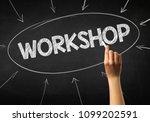 female hand holding white chalk ... | Shutterstock . vector #1099202591