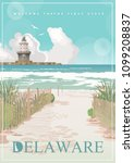 Delaware vector illustration with colorful detailed landscapes in modern flat design