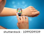 hand with smartwatch and... | Shutterstock . vector #1099209539