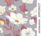 delicate white flowers on blue... | Shutterstock .eps vector #1099236227