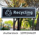 recycling point sign  words and ... | Shutterstock . vector #1099244639