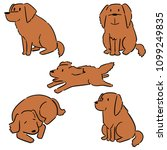 vector set of dog  golden... | Shutterstock .eps vector #1099249835
