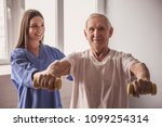 handsome old man is doing... | Shutterstock . vector #1099254314