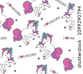 seamless pattern with unicorns  ... | Shutterstock .eps vector #1099290794