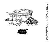 mustardi sauce in bowl drawing. ... | Shutterstock . vector #1099291037