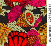 tropical bright pattern design... | Shutterstock .eps vector #1099310564