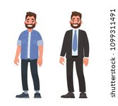 handsome bearded man in casual... | Shutterstock .eps vector #1099311491